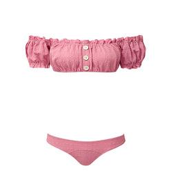 leandra seersucker ruffle button bikini