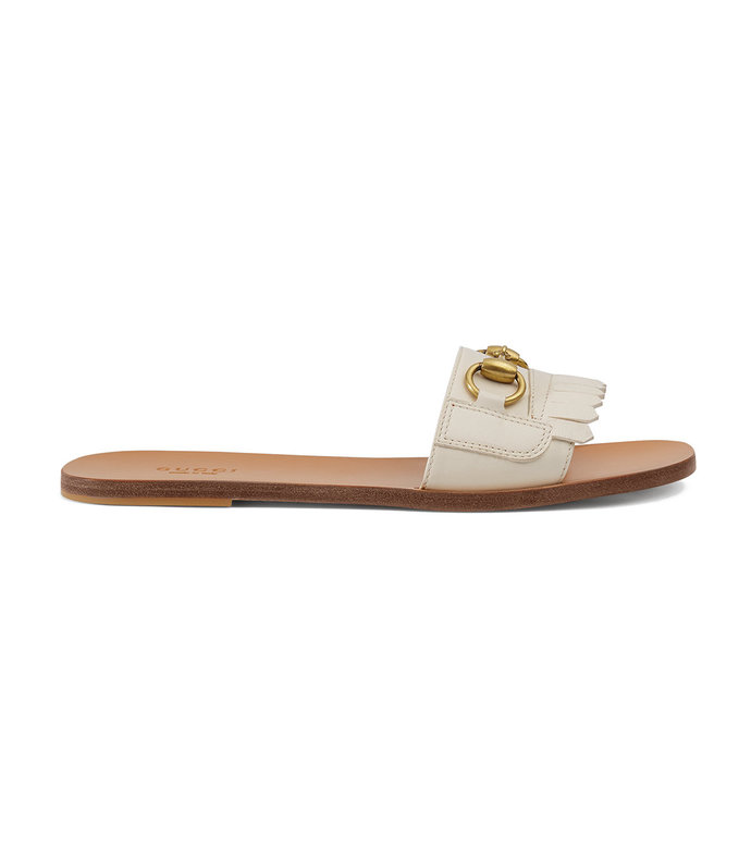 fringe leather horsebit slides