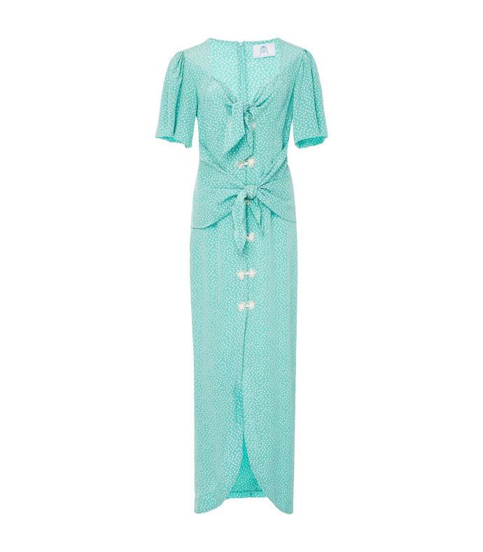 blue zaza silk midi dress