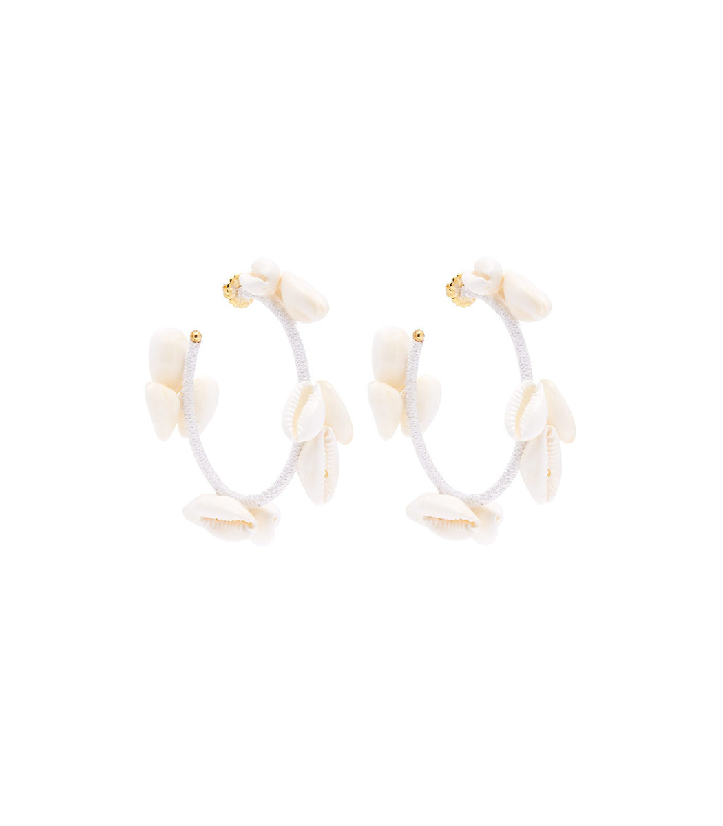 Rebecca De Ravenel Olympia Shell-Embellished Hoop Earring