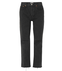 black high rise stove pipe distressed straight leg jeans
