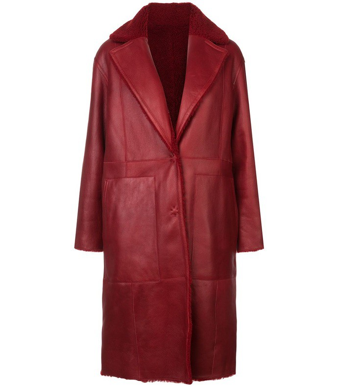 red reversable leather mid-length coat