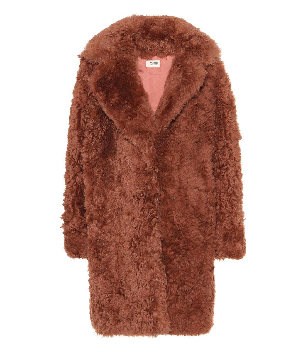 Yves Salomon Brown Lamb Fur Coat