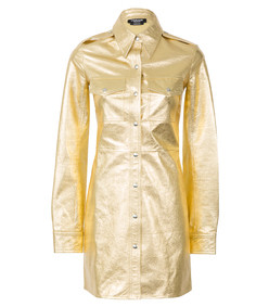 gold leather uniform shirt dress