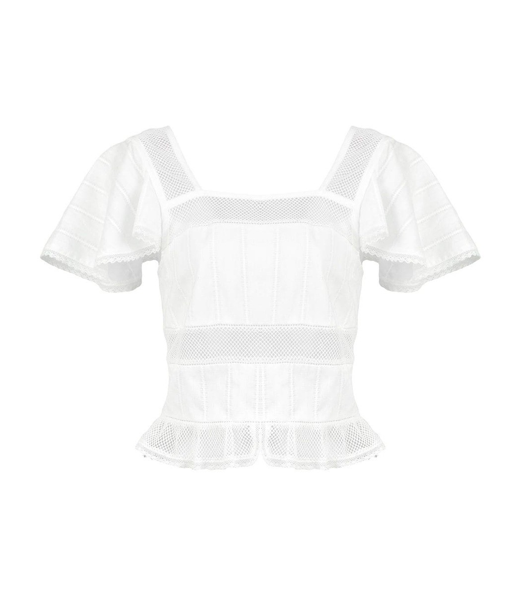 Alexa Chung White Square Neck Cropped Blouse