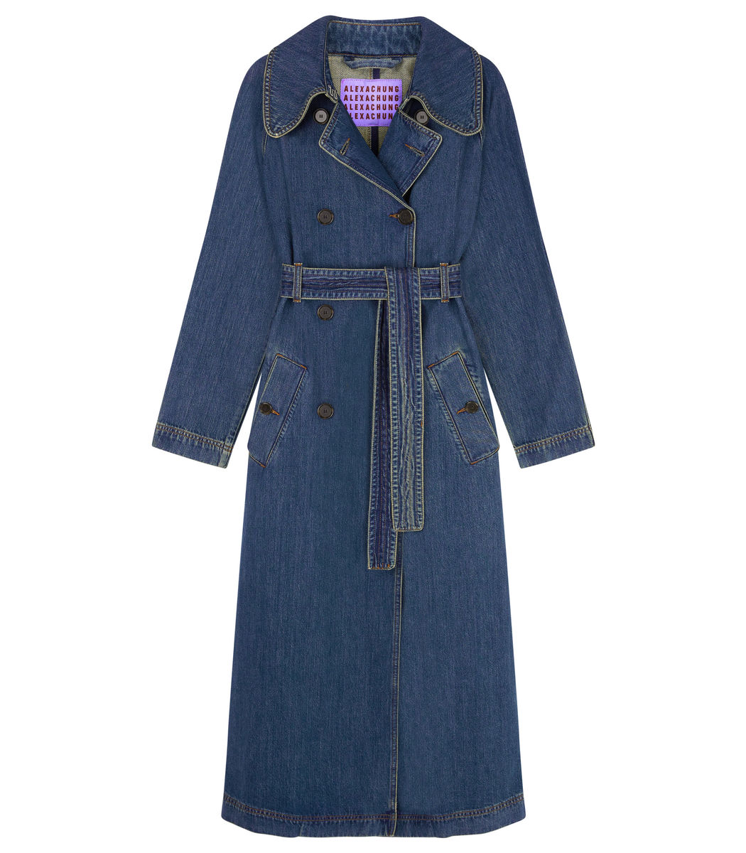 Alexa Chung Blue Denim Trench Coat