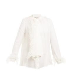 white dna feather blouse