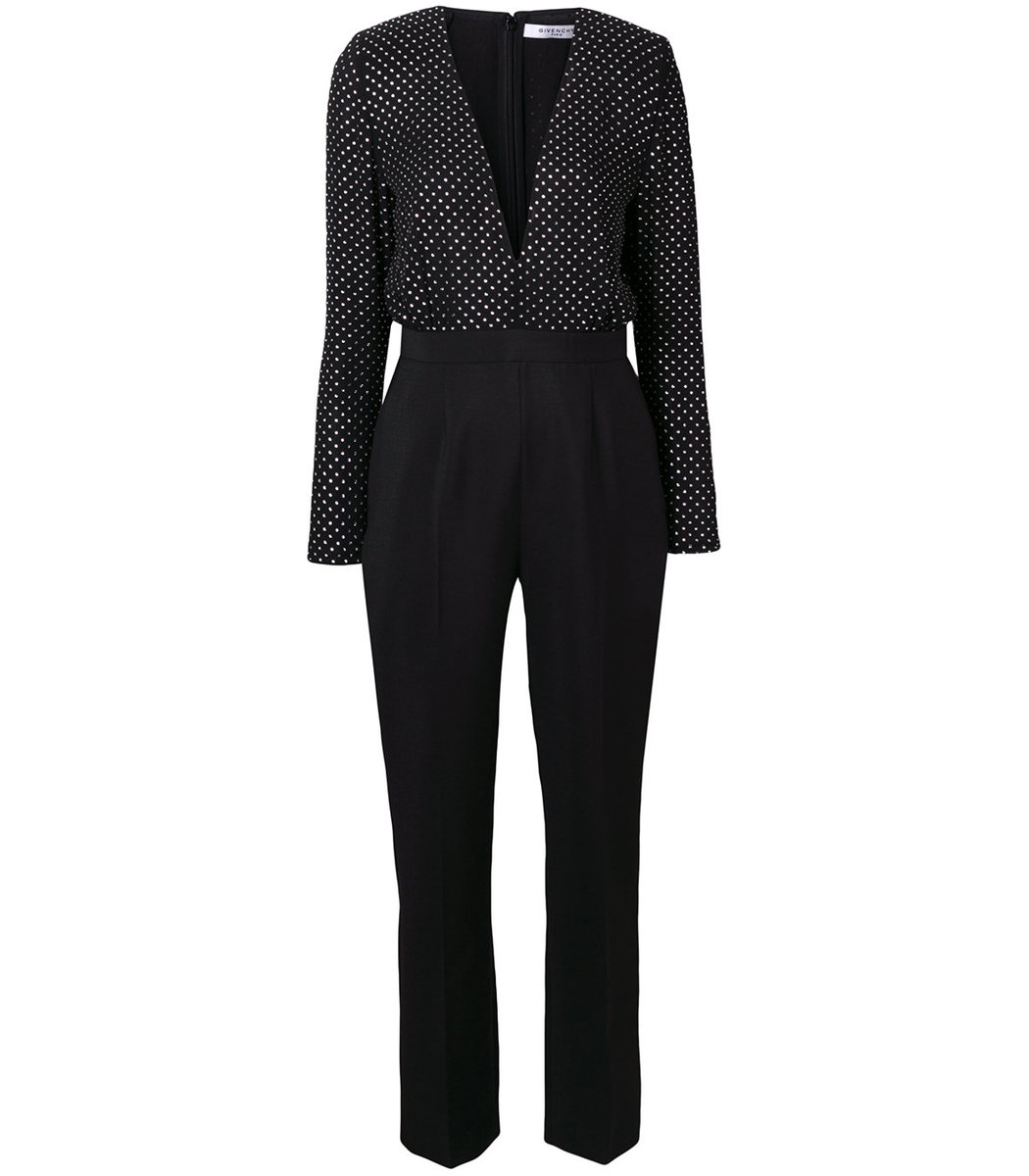 Black Polka Dot Tailored Jumpsuit