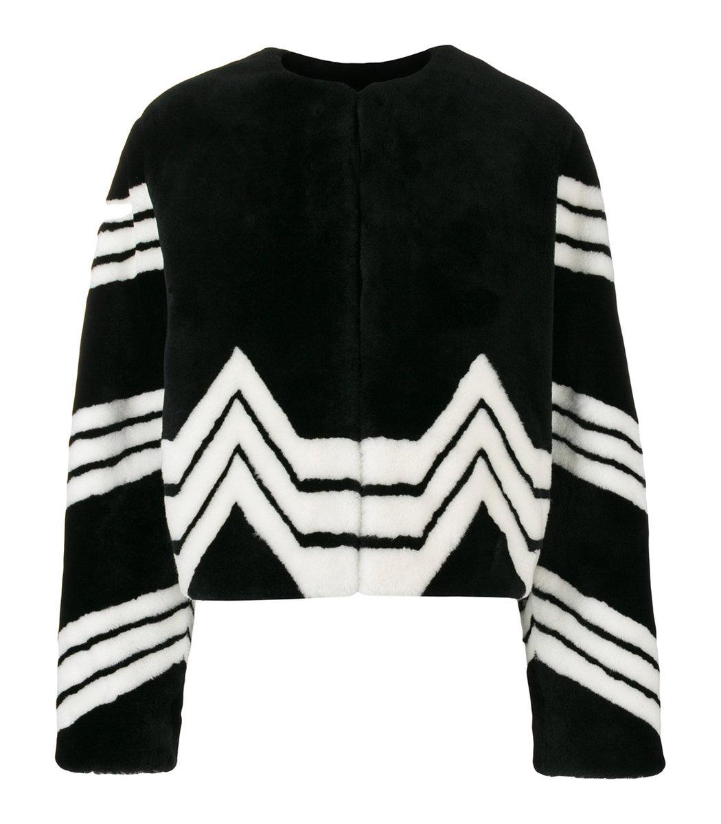 GIVENCHY Black Chevron Stripe Faux Fur Jacket
