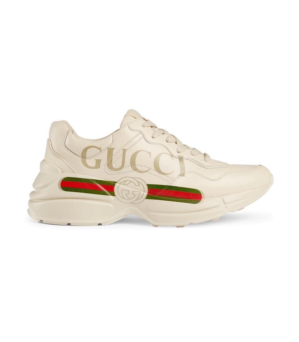 Neutral Rhyton Gucci Logo Leather Sneakers, White