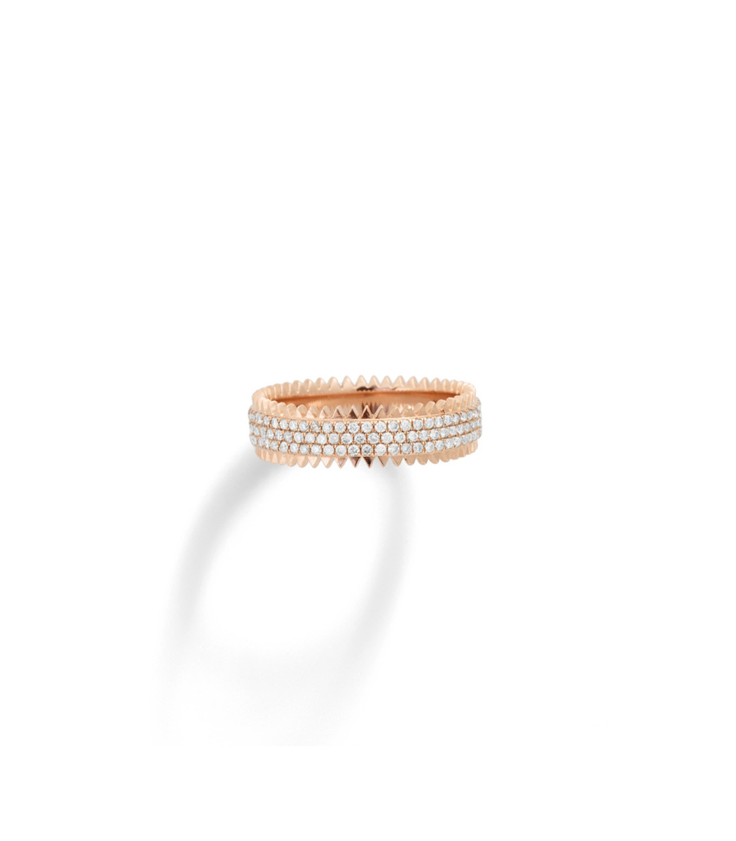 EVA FEHREN Gold Triple Zipper Band Ring