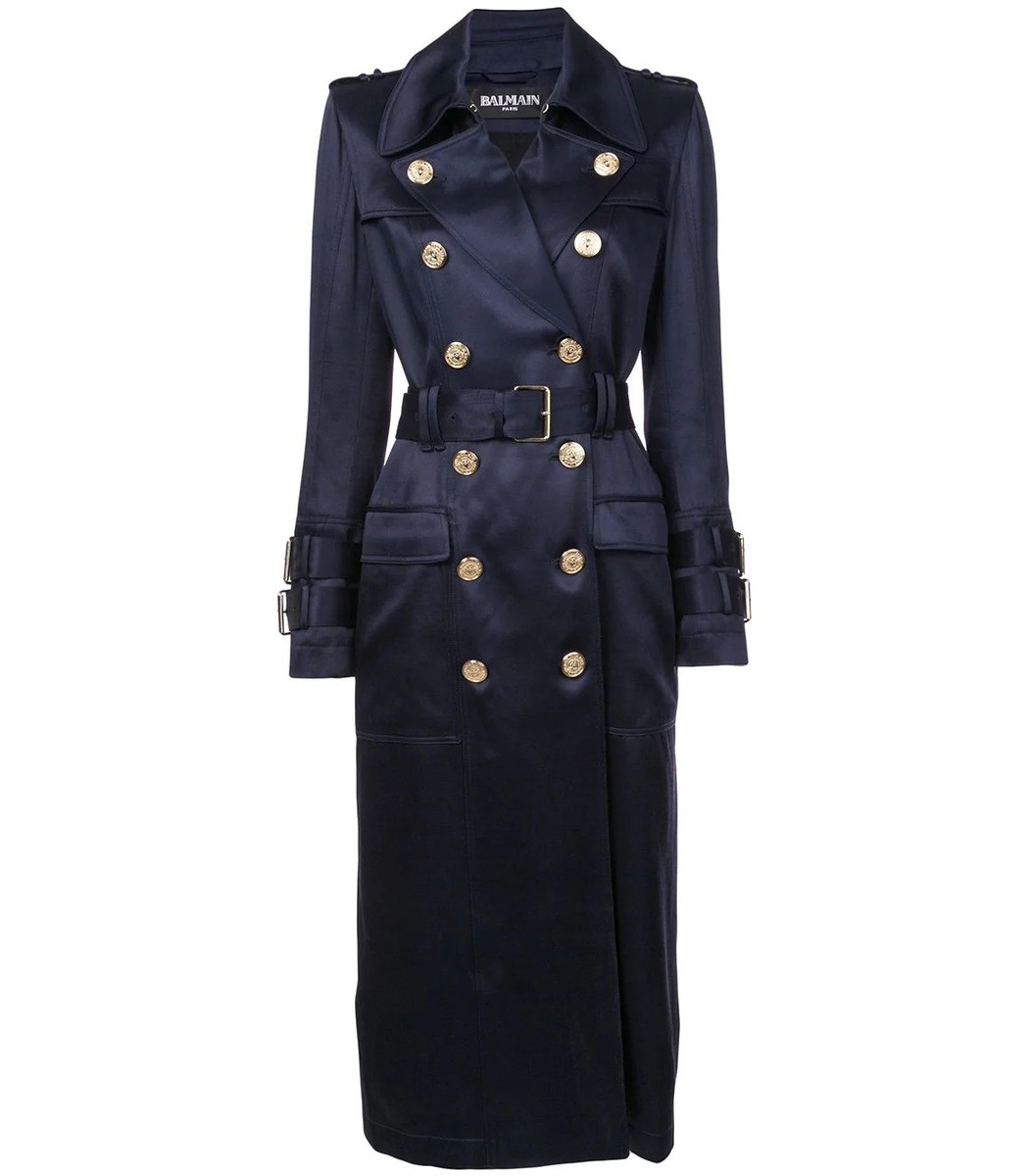 BALMAIN Blue Double Breasted Trench Coat