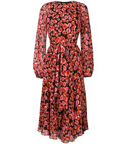red floral petal printed dress