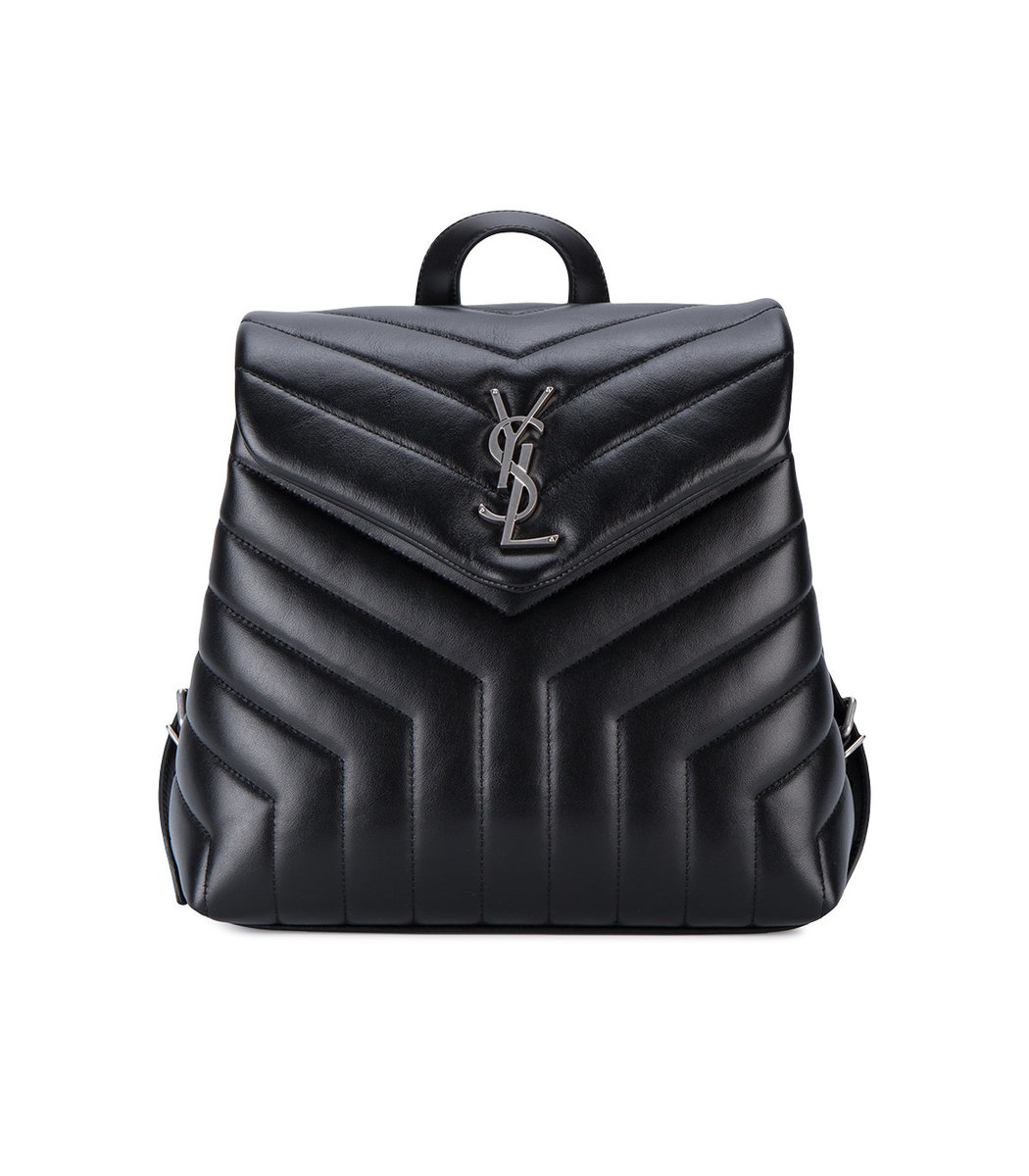 SAINT LAURENT Black Loulou Quilted Leather Backpack Bag