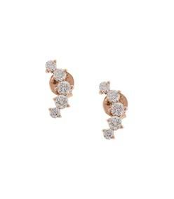 gold arc diamond studs