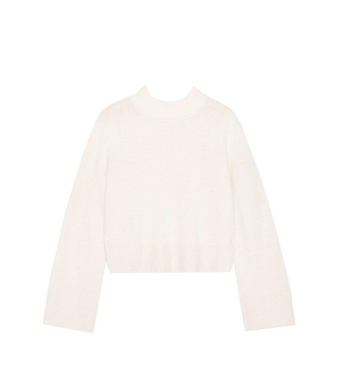 boxy crewneck sweater in ivory