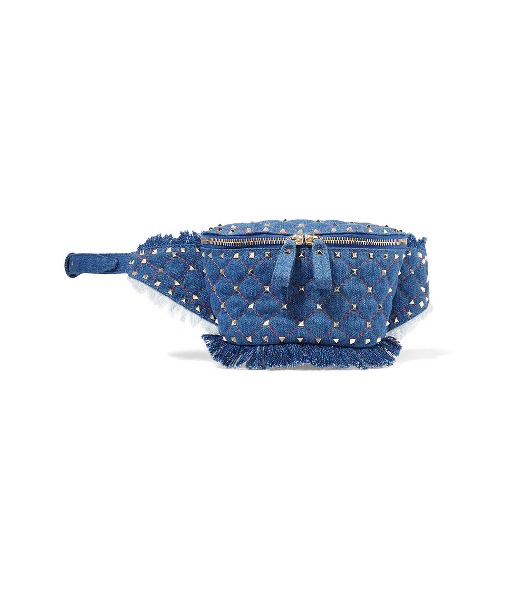 VALENTINO Rockstud Quilted Denim Belt Bag