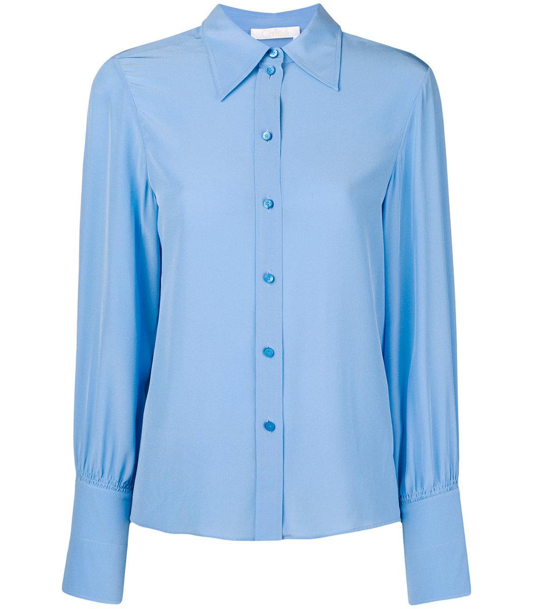 de larga hogar de Chloé azul Blusa manga 0aTwxqTU