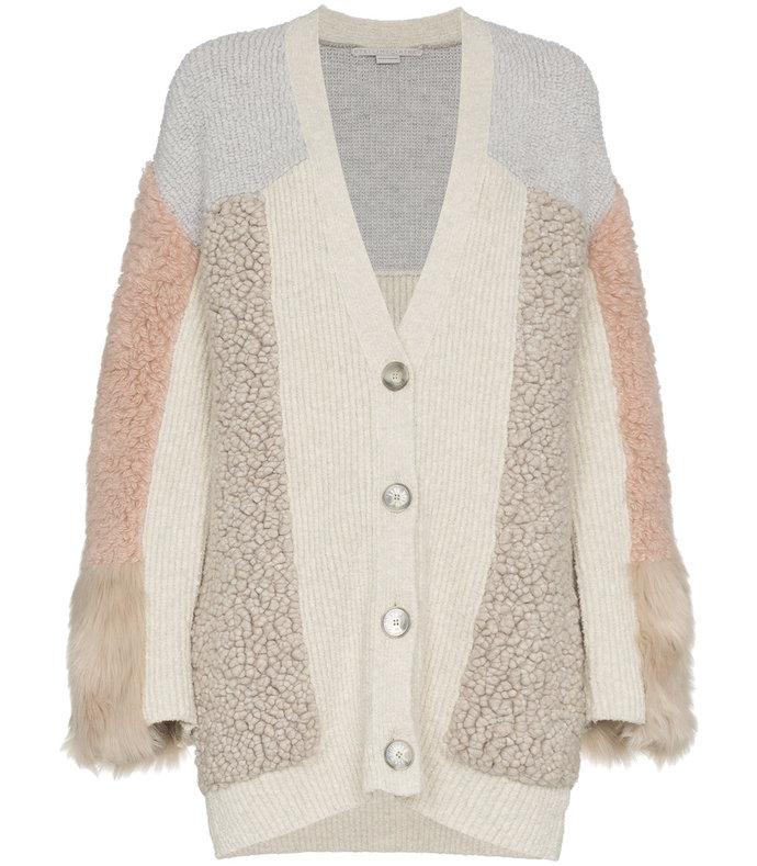 faux fur patchwork cardigan