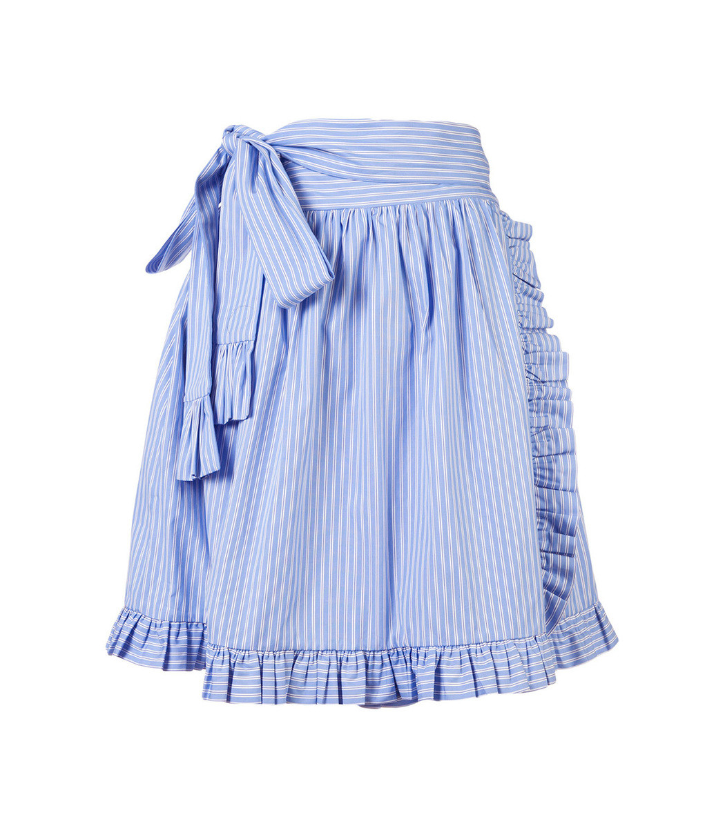 Striped Ruffle-Trimmed Skirt