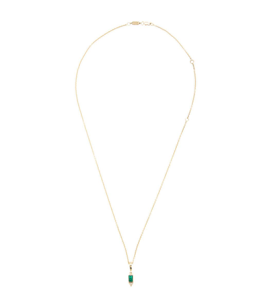 AZLEE Gold Emerald & Trill Diamond Necklace
