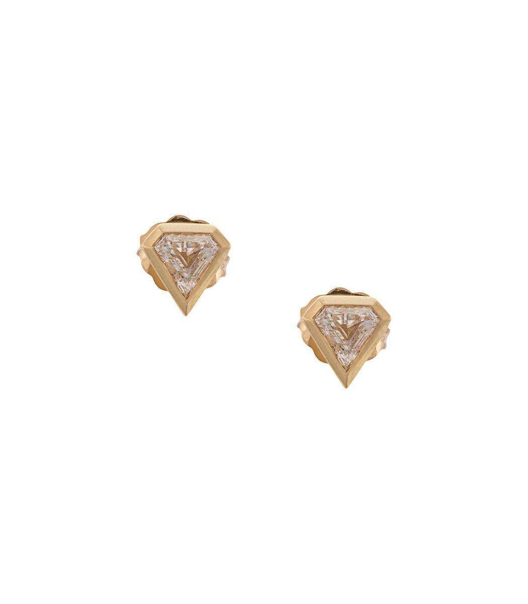 Azlee Gold Sheild Diamond Studs