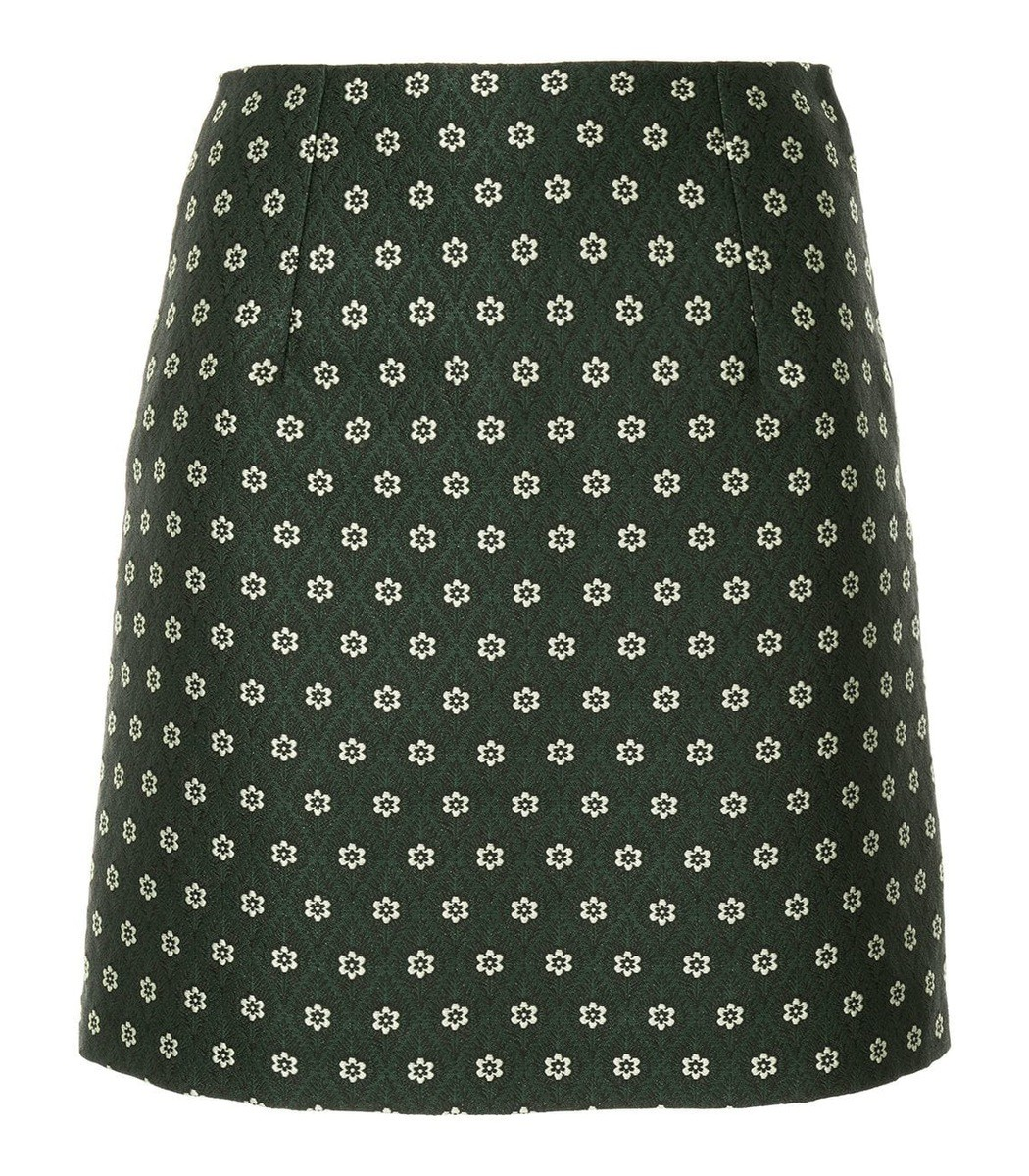 Alexa Chung Green Jaquard Mini Skirt