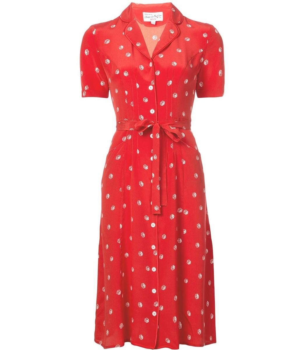Harley Viera Newton Printed Tie Waist Shirt Dress - Red