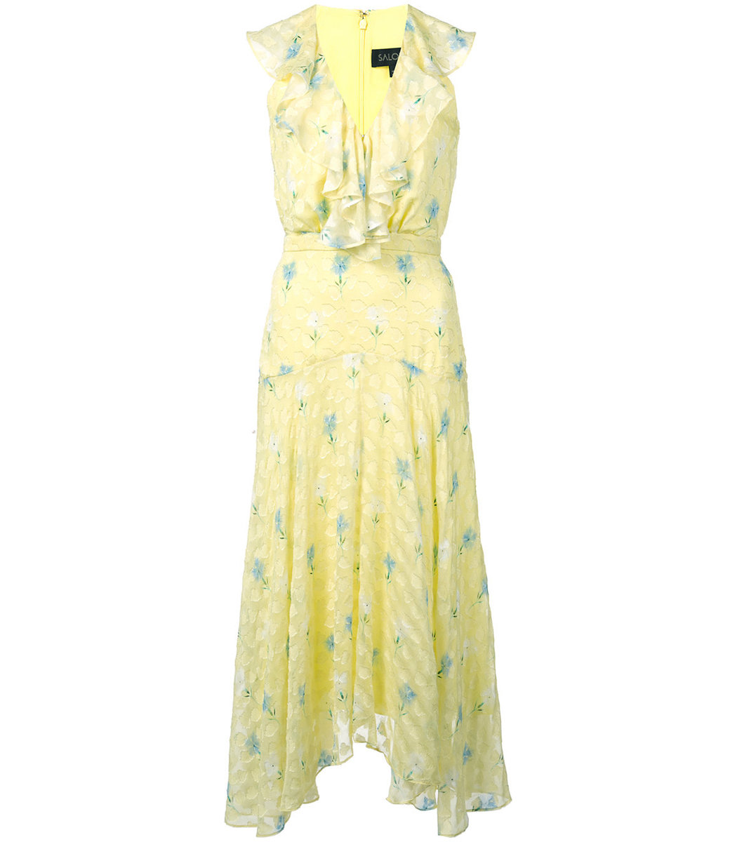 SALONI Yellow Rita Floral Midi Dress