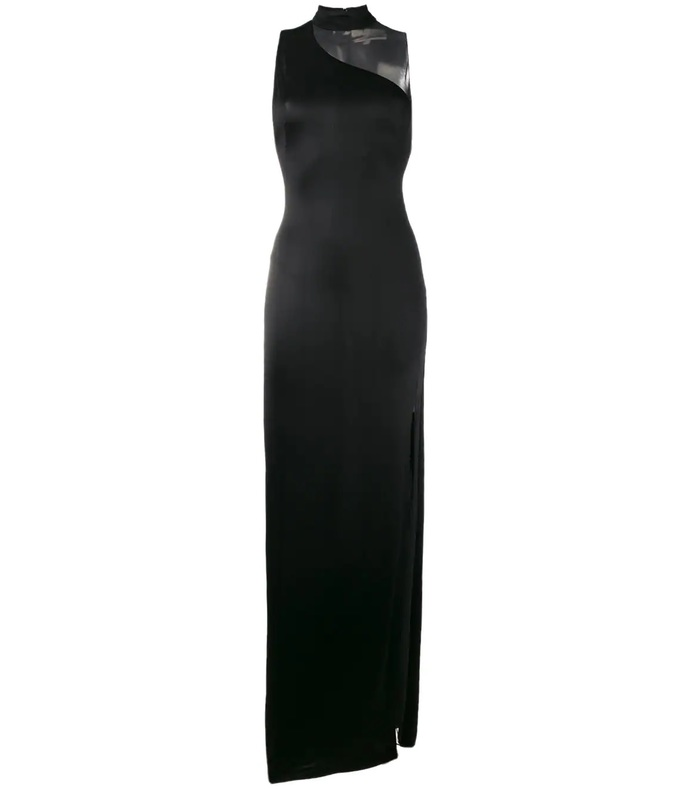 black shadow sheer panel gown