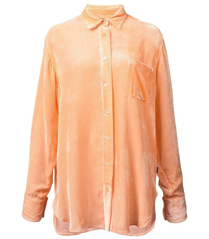 orange ribbed velvet shirt