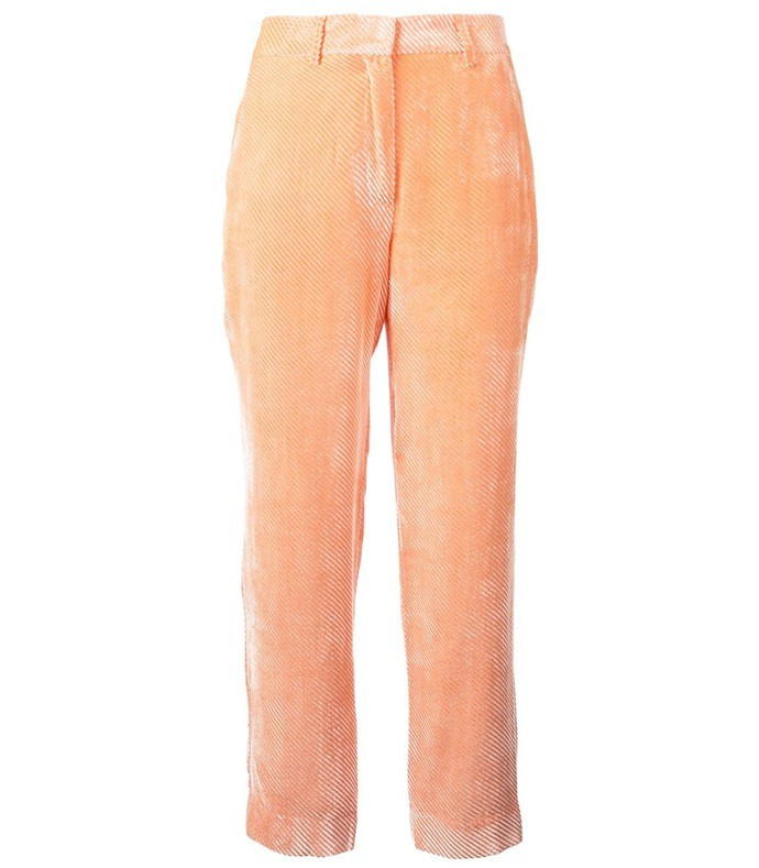 orange ribbed velvet trousers