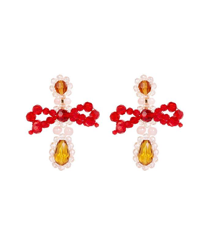 amber bow chandelier earrings