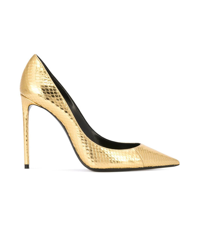 gold zoe pumps