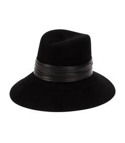 black nina leather & felt hat