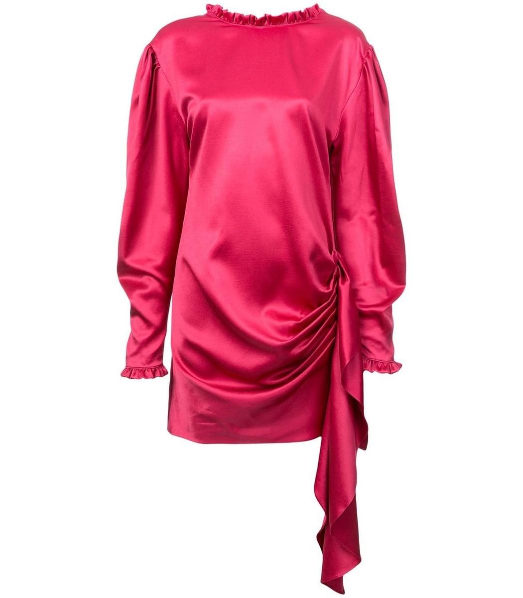 Magda Butrym Red Draped Tie Waist Dress