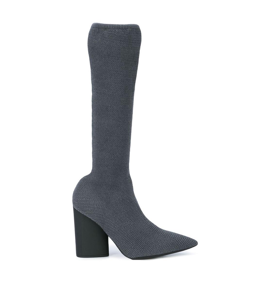 Grey Knit Stretch Boot