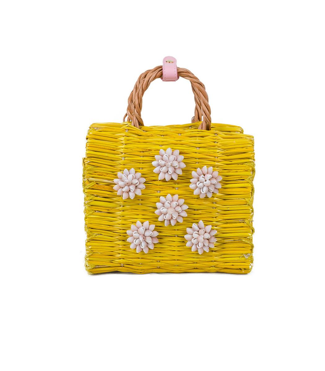 HEIMAT ATLANTICA Yellow Celeste Mini Pink Basket Bag