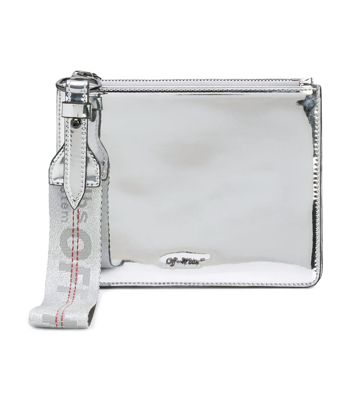 silver miror double flat pouch bag