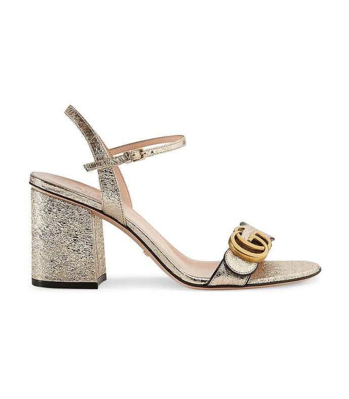 gold metallic leather mid heel sandal