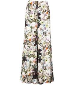 multicolor floral wide leg trousers