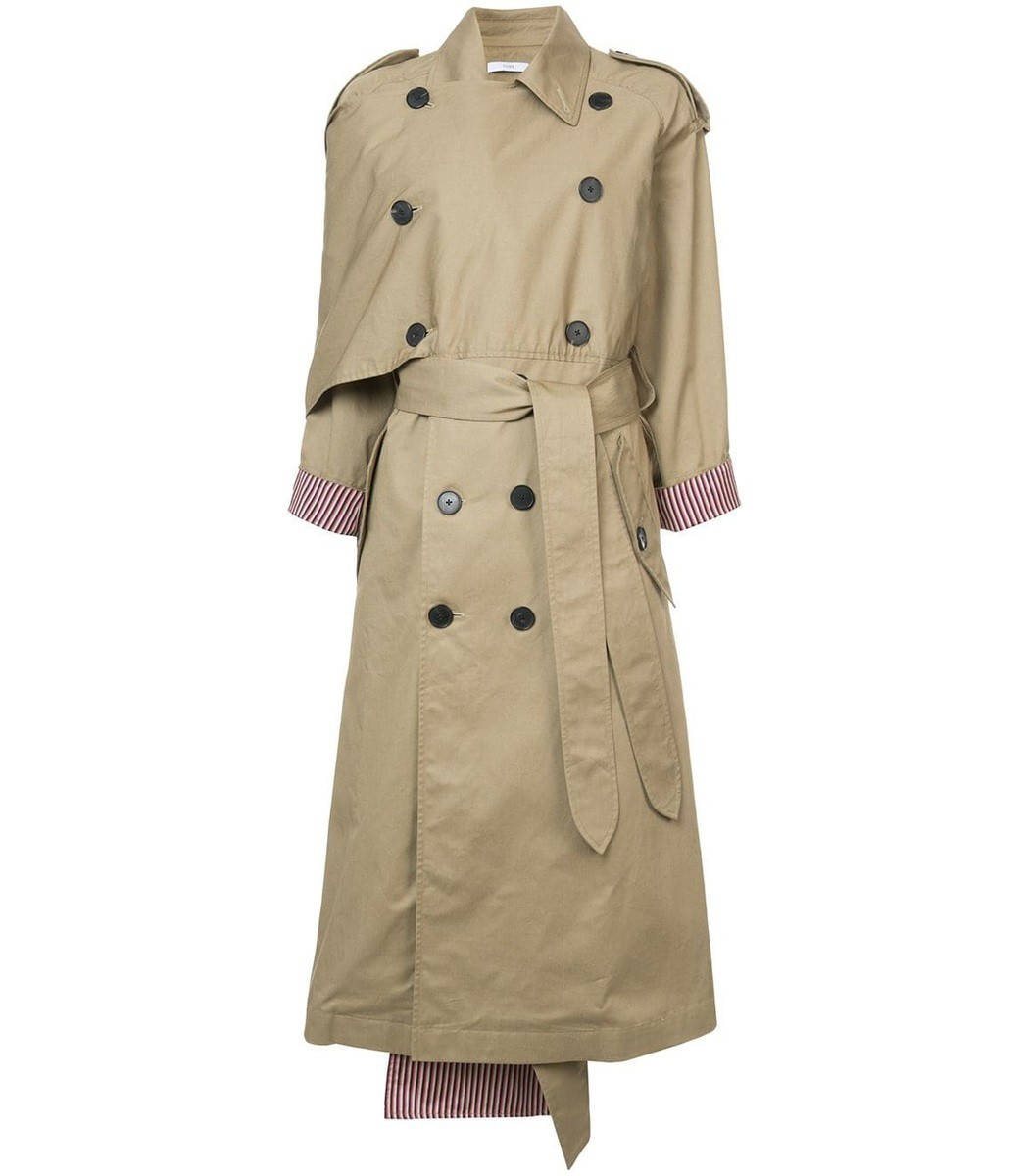 Tome Neutral Scarf Lapel Trench Coat