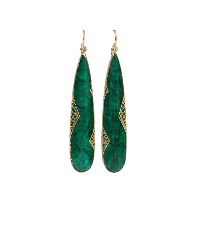 emerald slice lace earrings