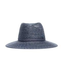blue straw weave hat