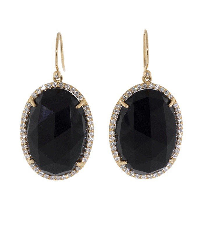 rose cut black onyx earrings