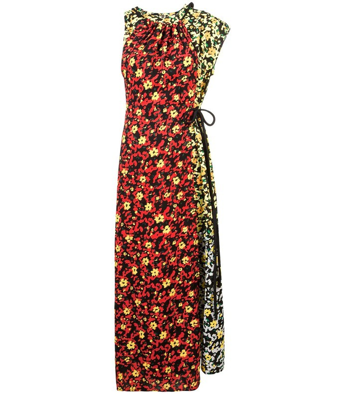 multi floral asymmetrical dress