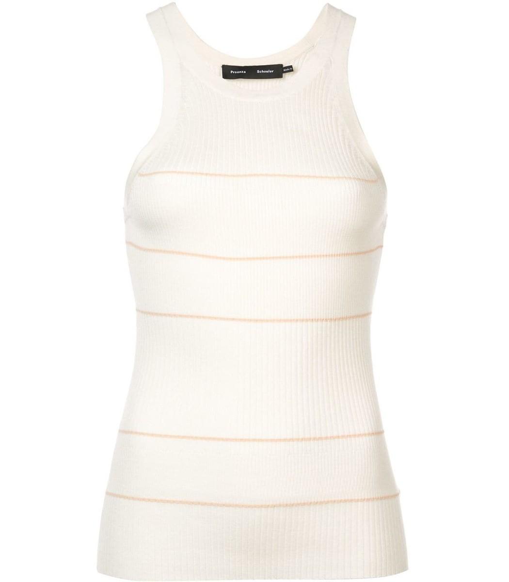 White Silk Cashmere Stripped Tank Top