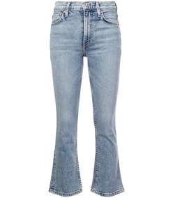 light blue kick flare jeans