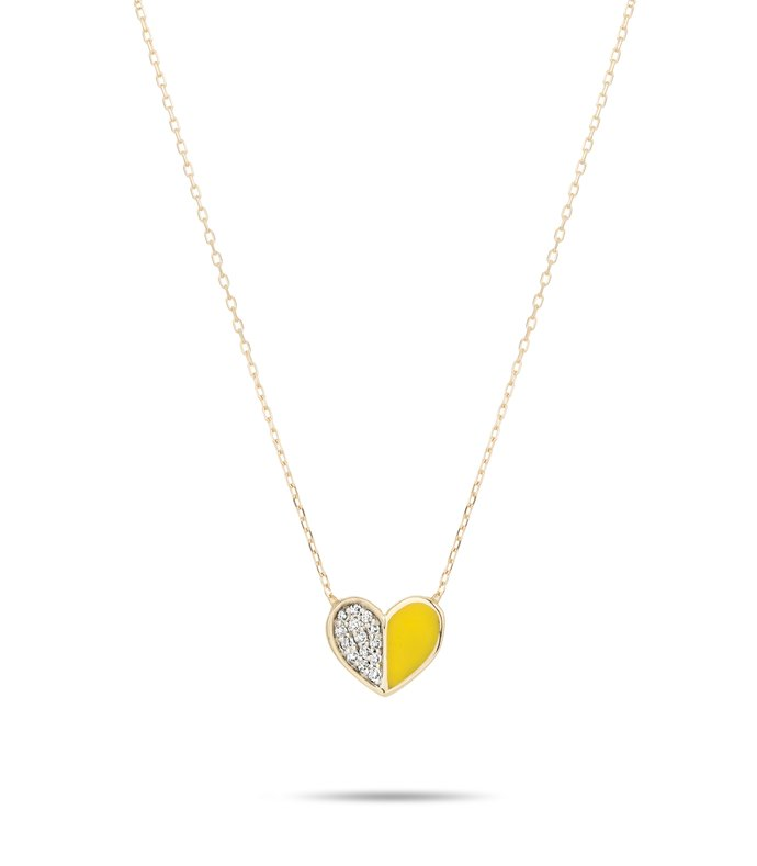 yellow ceramic pave folded heart necklace in yellow gold