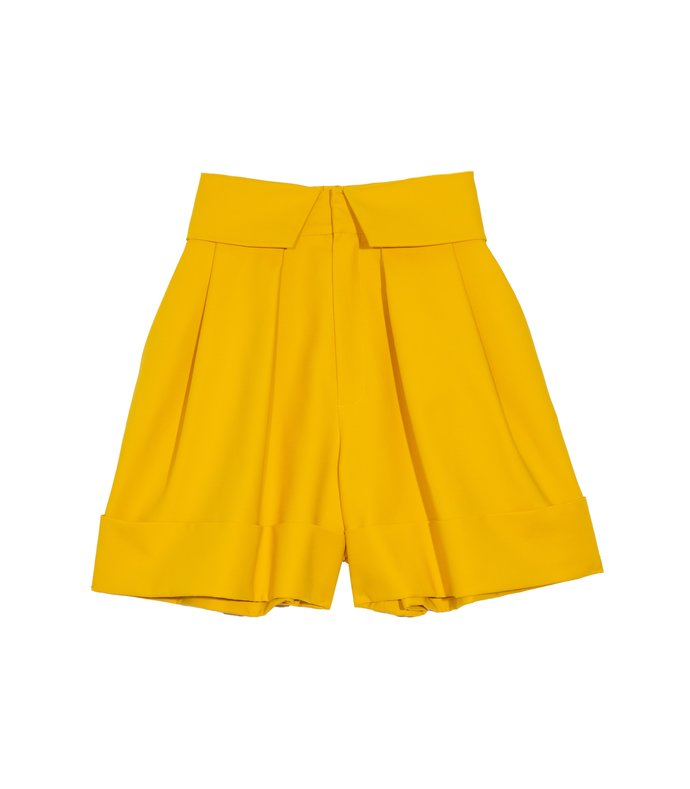 pleated cuffed shorts in yellow